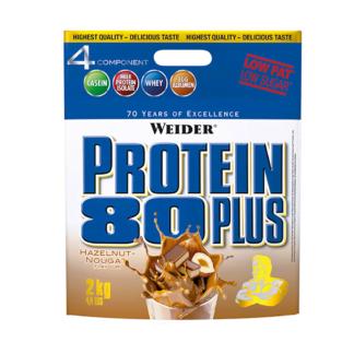 pulbere proteine weider protein 80plus cu aroma de nuga si alune caseina whey 2kg